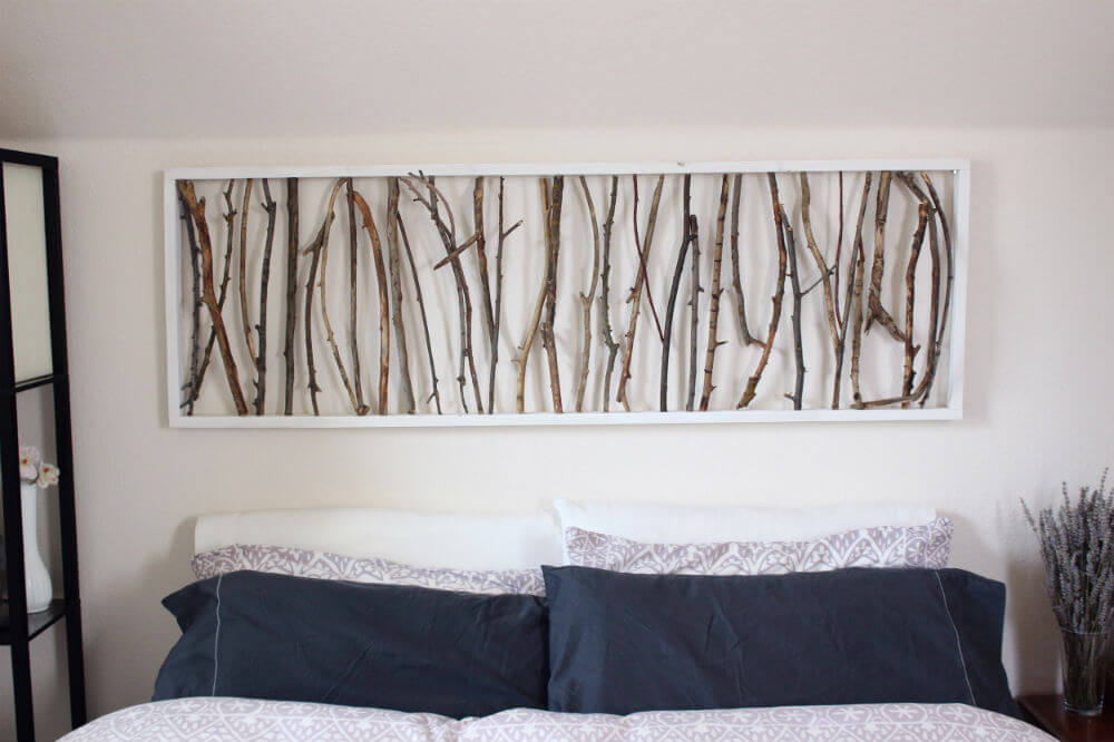 Simple Framed Twig Homemade Wall Art