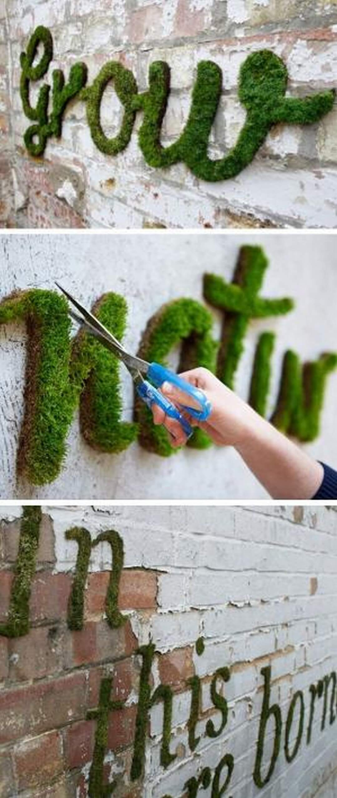 Unique Garden Sign Idea with Moss