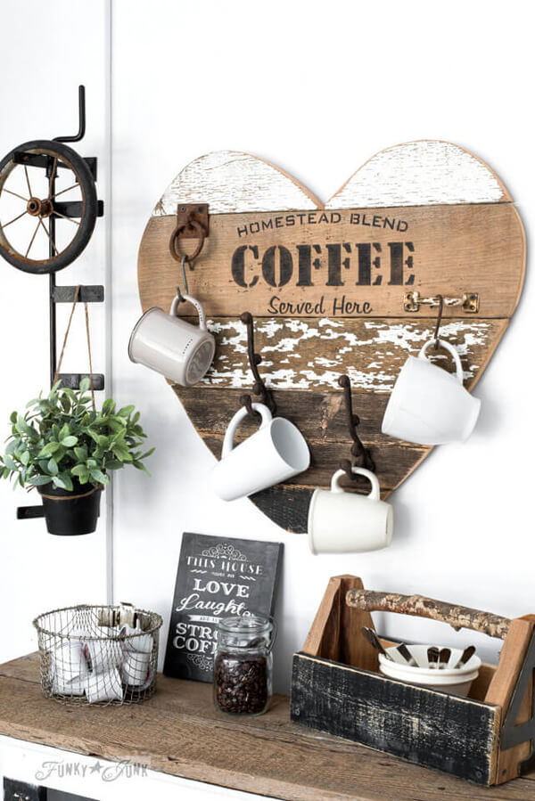 Heart Shaped Coffee Mug Rack with Stenciling