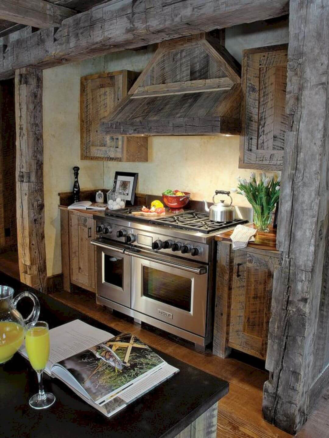 Natural Wood Beam Frames Stove Wall