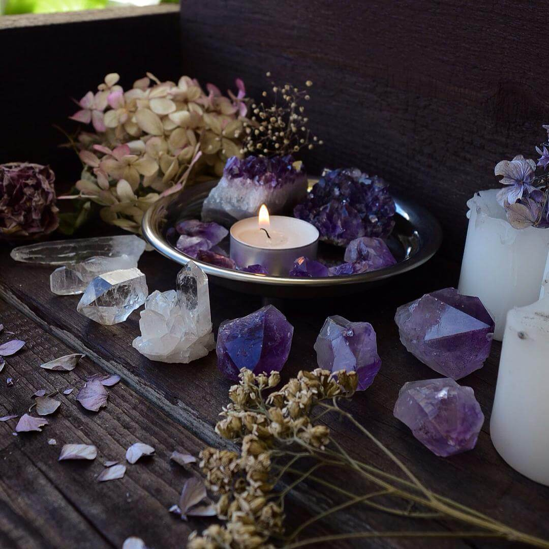 Tea Light, Dried Flowers, and Quartz