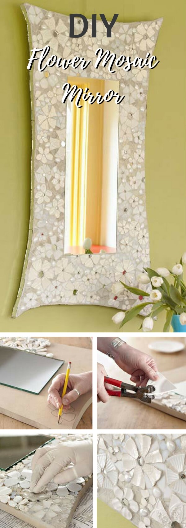 35 best diy mosaic craft ideas and projects for 2018 create an intricate flower mosaic mirror diy solutioingenieria Image collections