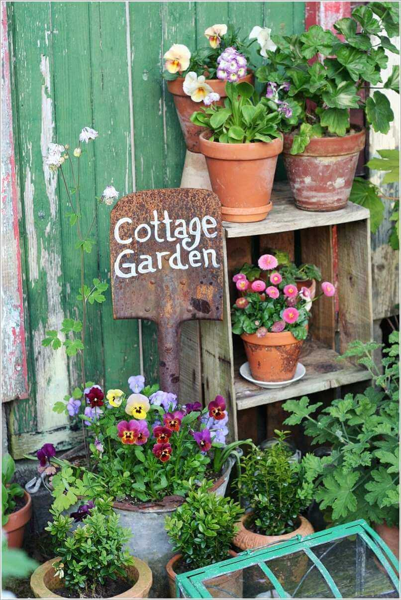 Cottage Garden Sign on a Shovel