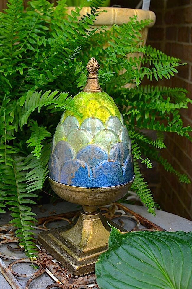 Spray-Painted, Egg-Shaped Porch Pedestal