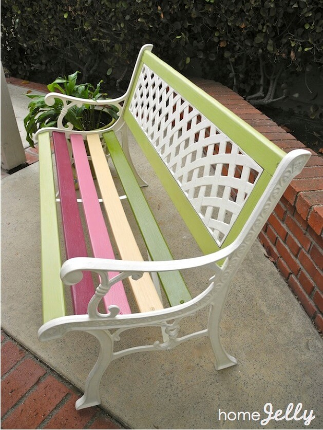 Summer Bench in Pastel Candy Stripes