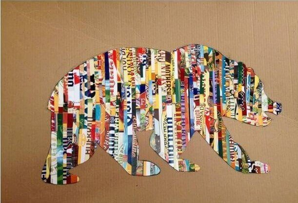 DIY Magazine Collage Bear Art