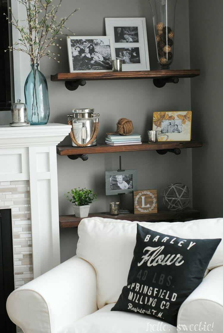 Stained Wood Shelves On Metal Supports