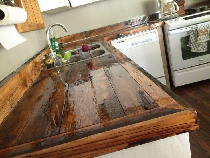 Shellacked Wood Runs Down the Kitchen Counter
