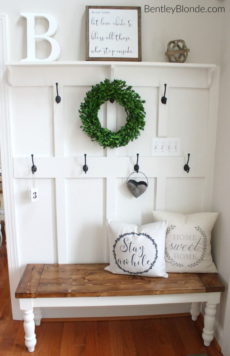 Green Wreath Among the Wall Hooks