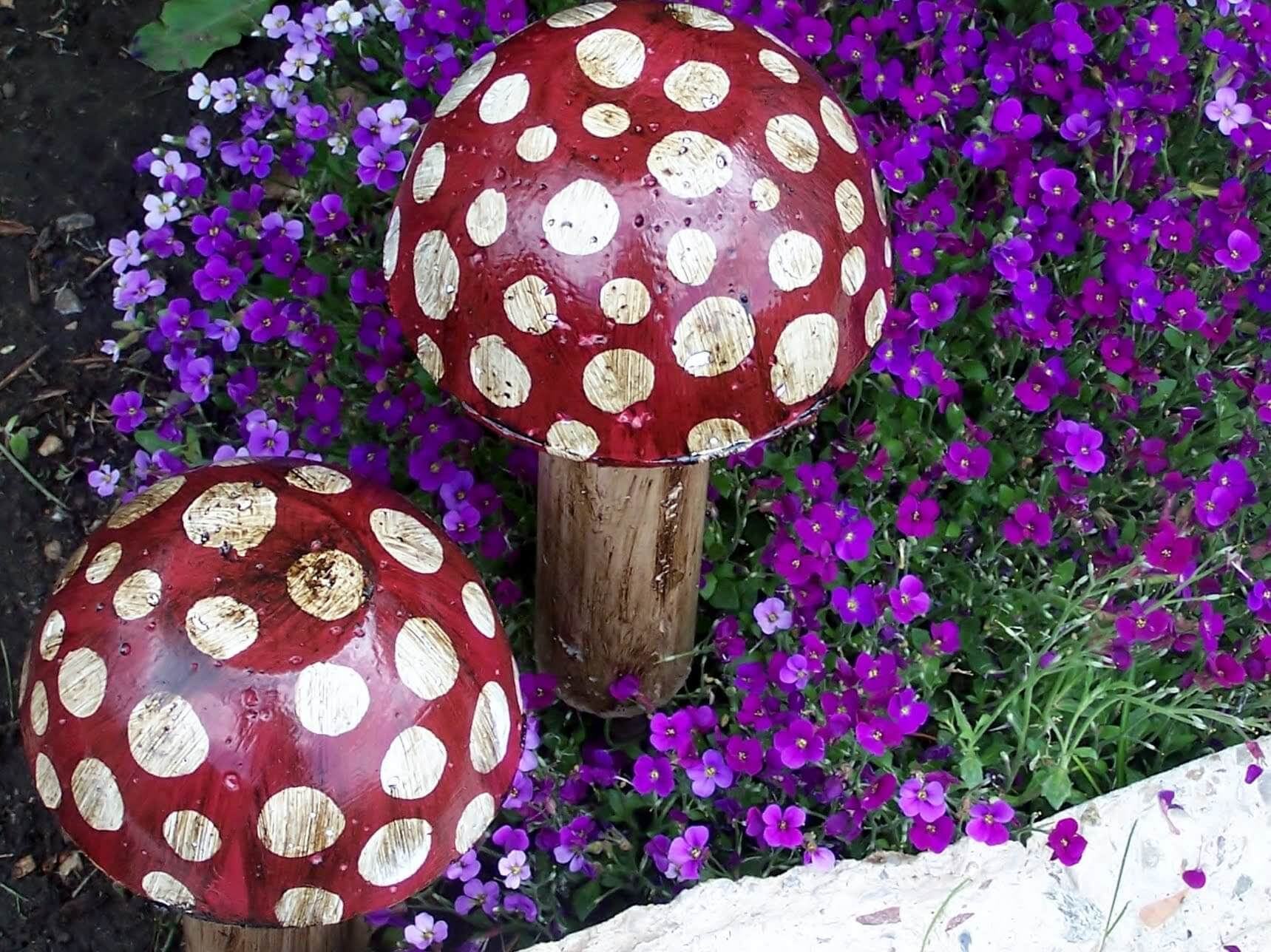 Polka Dot Mushrooms Amongst the Flowers