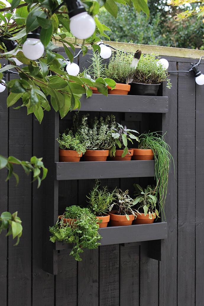 16. Wall Shelf with a Herb Garden & 31 Best Garden Fence Decoration Ideas and Designs for 2018