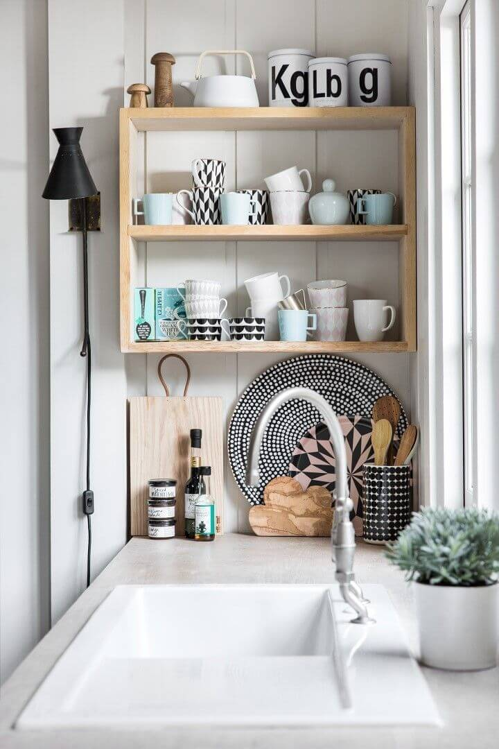 Simple Wall Shelving for Coffee Mugs