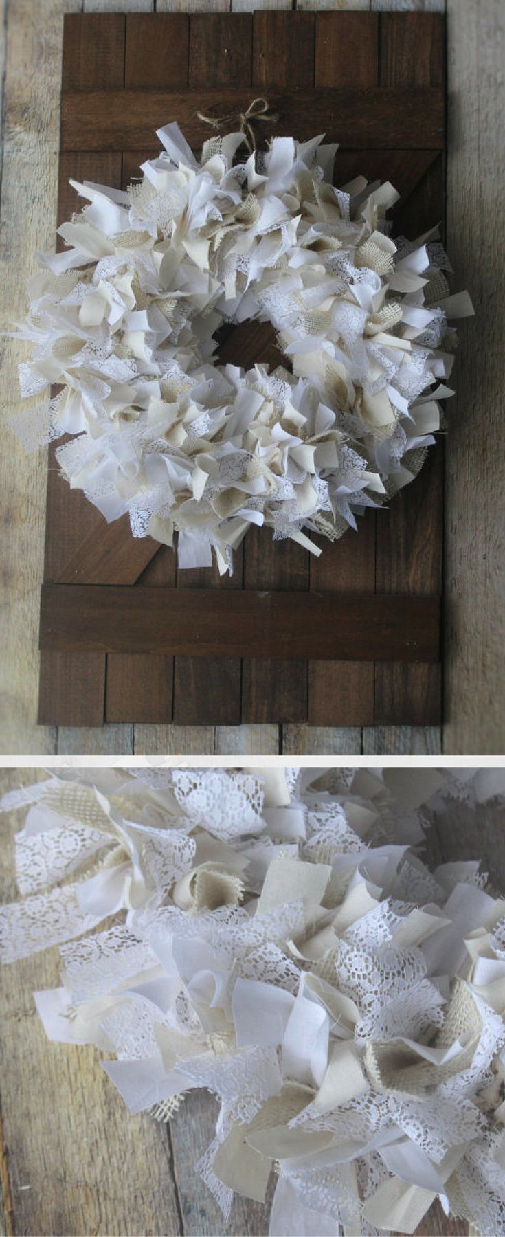 Fluffy Wreath with Tied Fabric