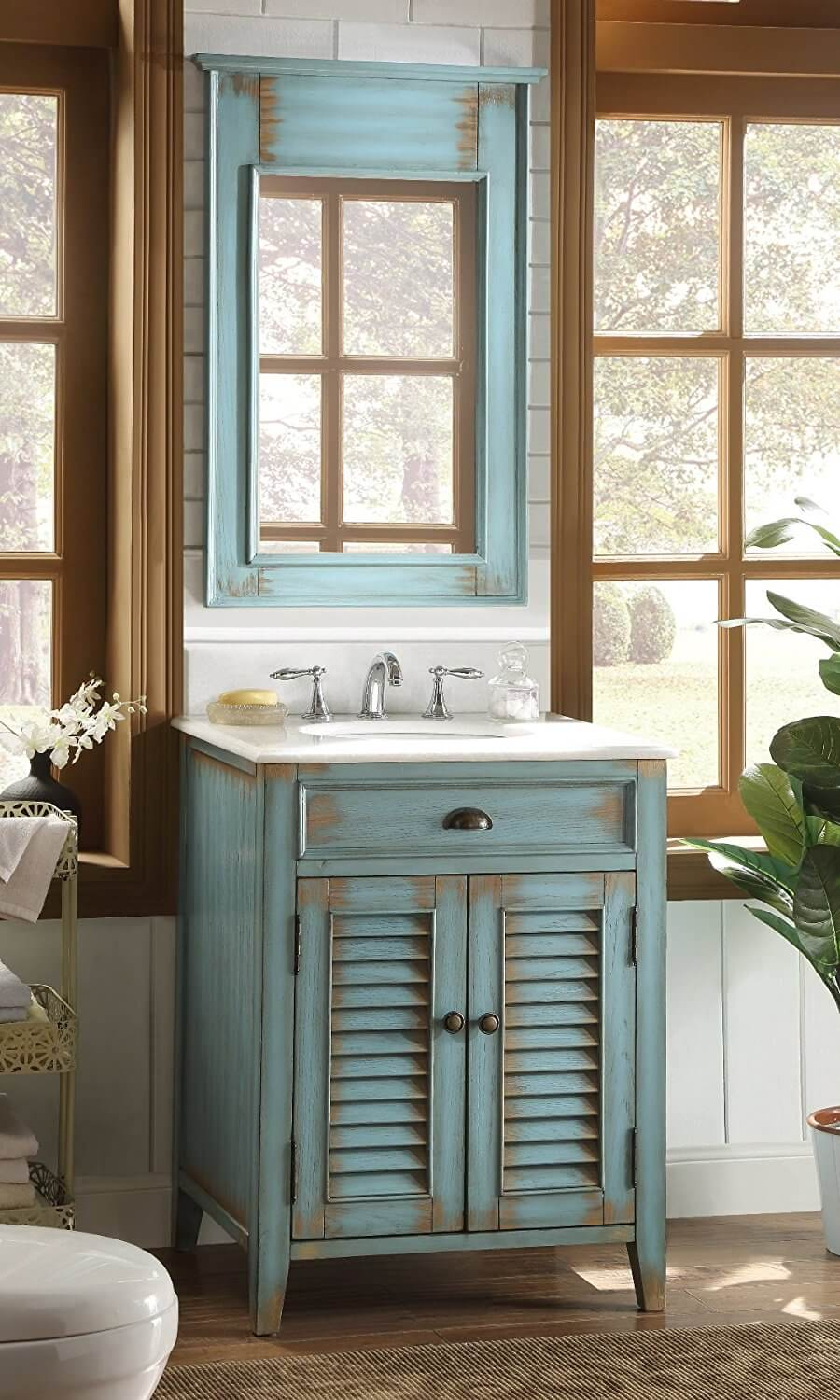 Large Windows and a Rustic Painted Vanity