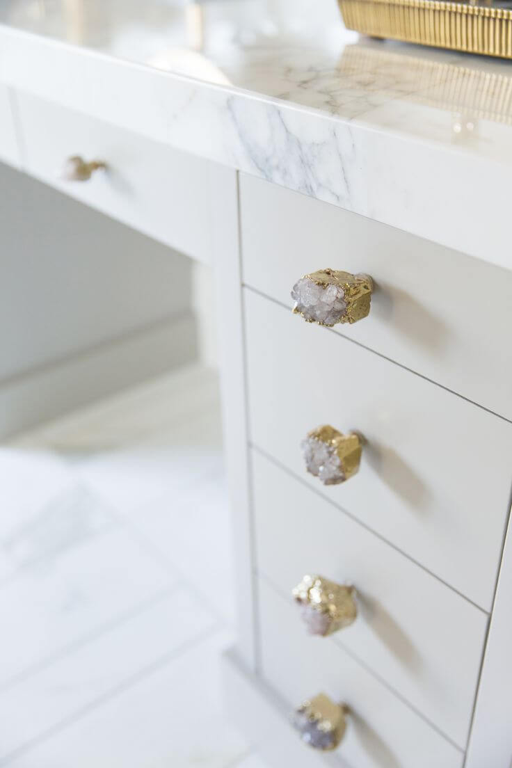 Desk Drawer Handles in Gold-encased White Stones