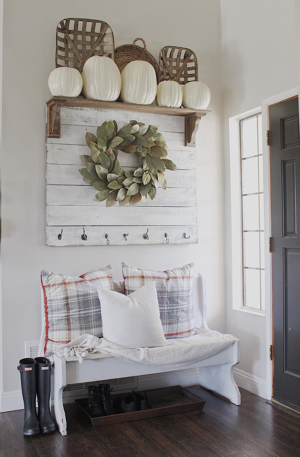 Mounted Wreath and Plaid Pillows in Pastels