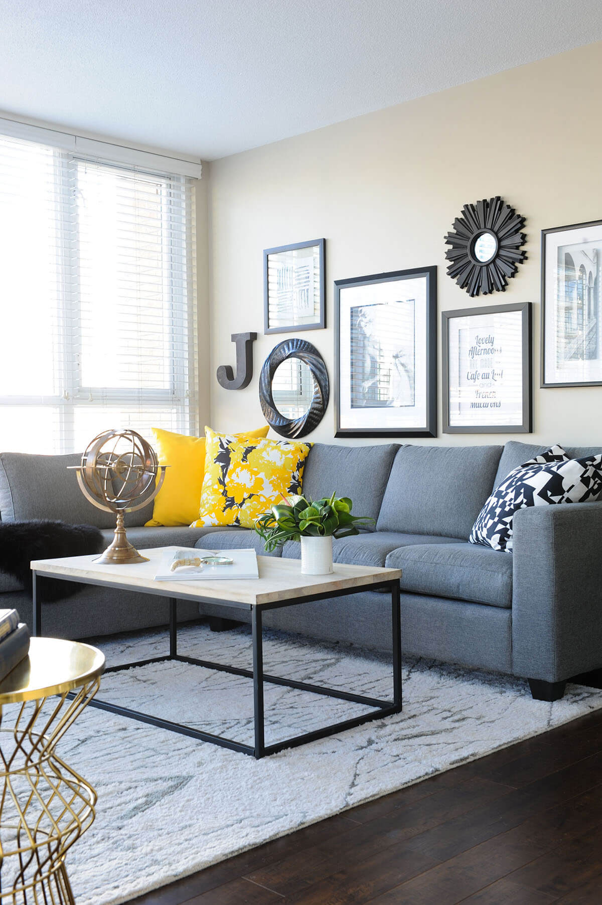 Sectional with Yellow Cushions that Pop