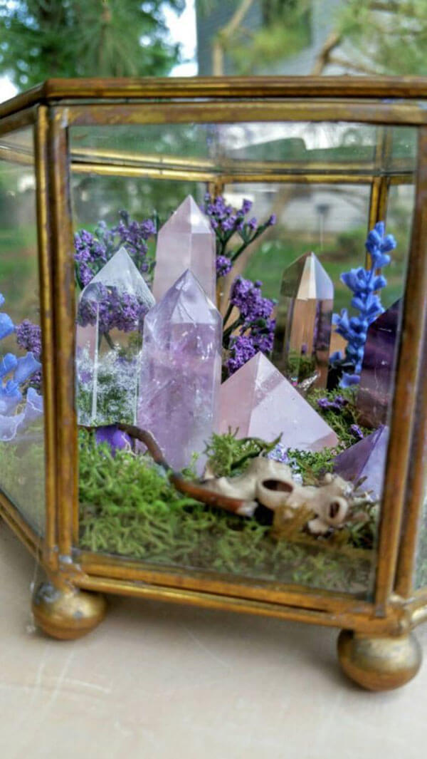 Quartz in Fairy Garden Terrarium