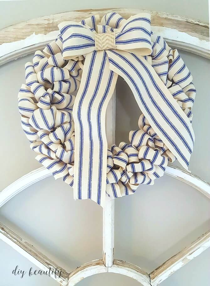 Blue and White Striped Fabric Wreath