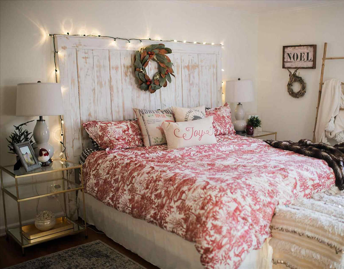 19. Lights Surround Farmhouse Headboard And Wreath