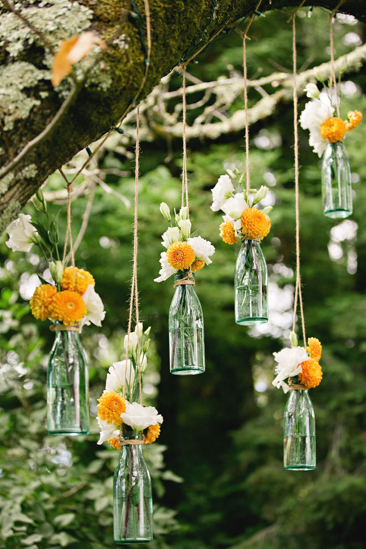 19. Go Green – Glass Bottle Vases and Buds