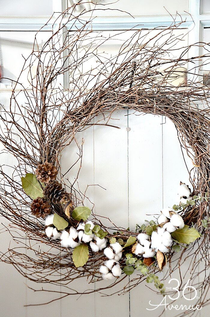 Tangled Branch Wreath with Cotton and Pinecones