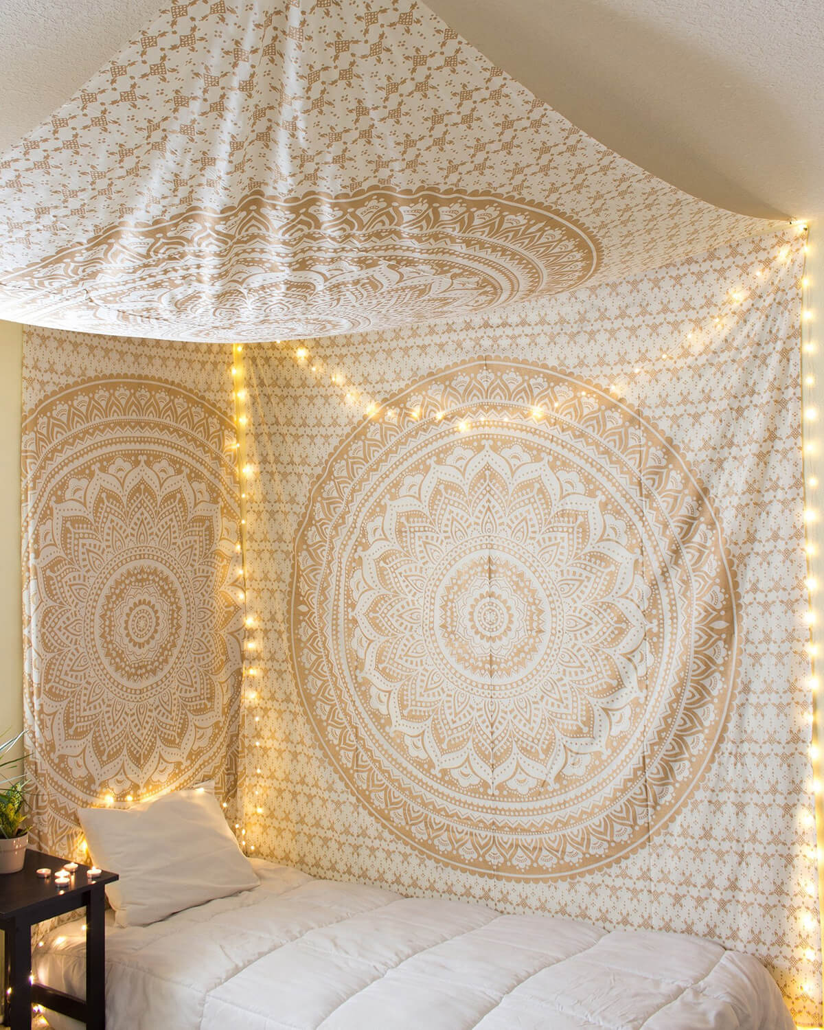 String of Lights Illuminates Mandala Designs on Canopy