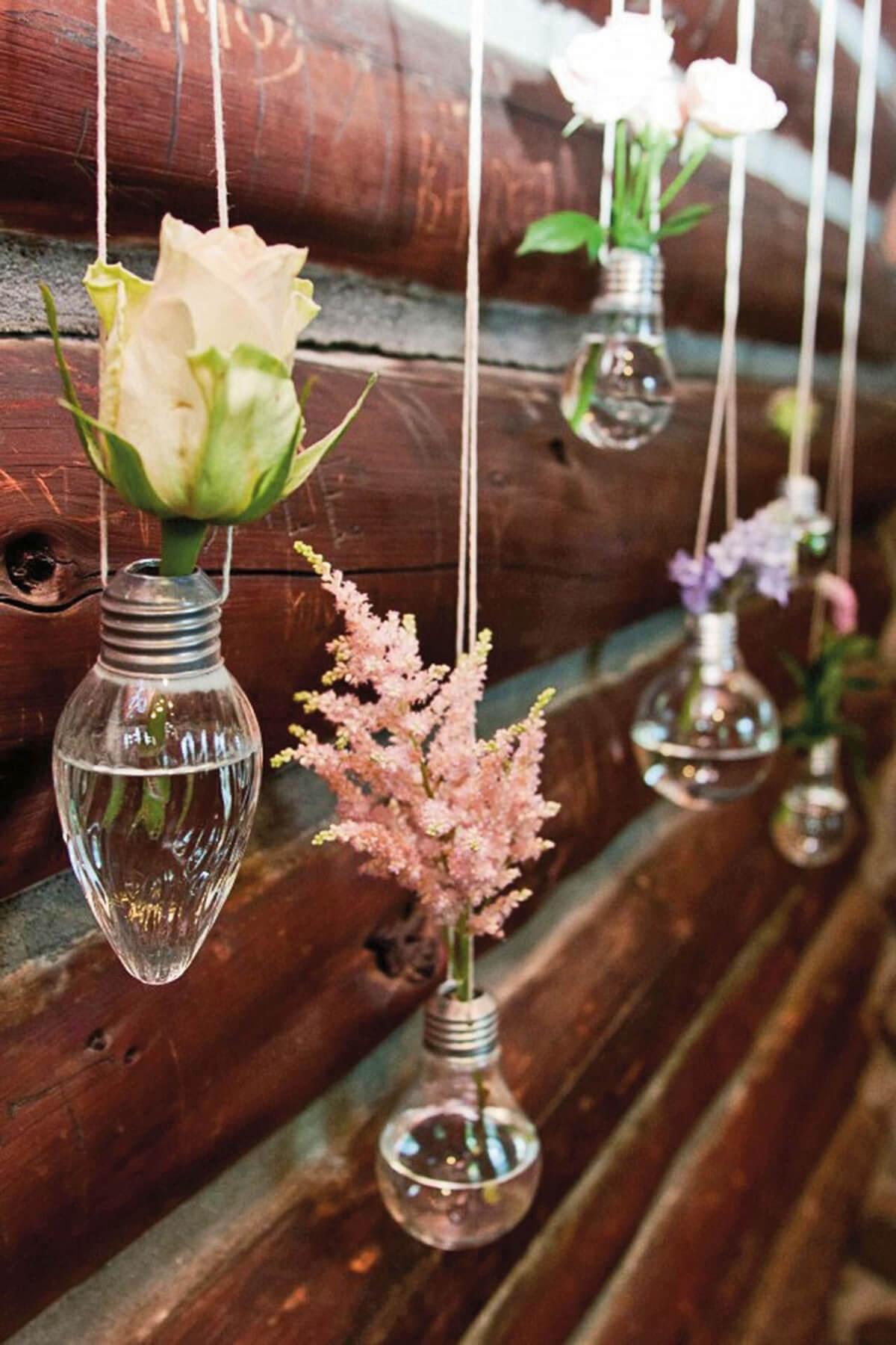 Vintage Lightbulb Vases for Tiny Blooms