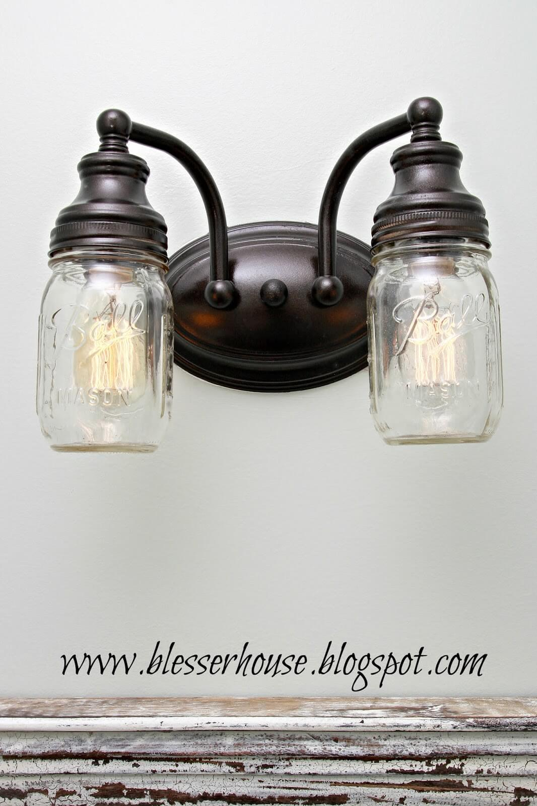 DIY Mason Jar Bathroom Light Fixture