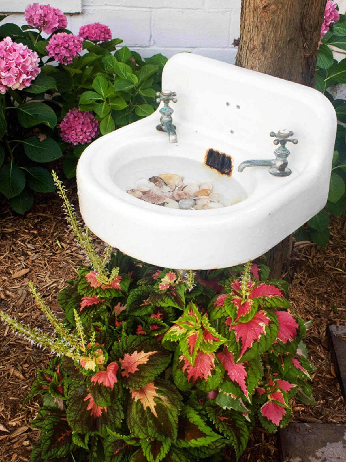 Recycled Bathroom Sink Bird Bath