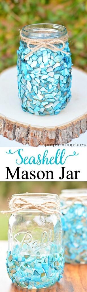 Make a Mason Jar Shine with Seashells