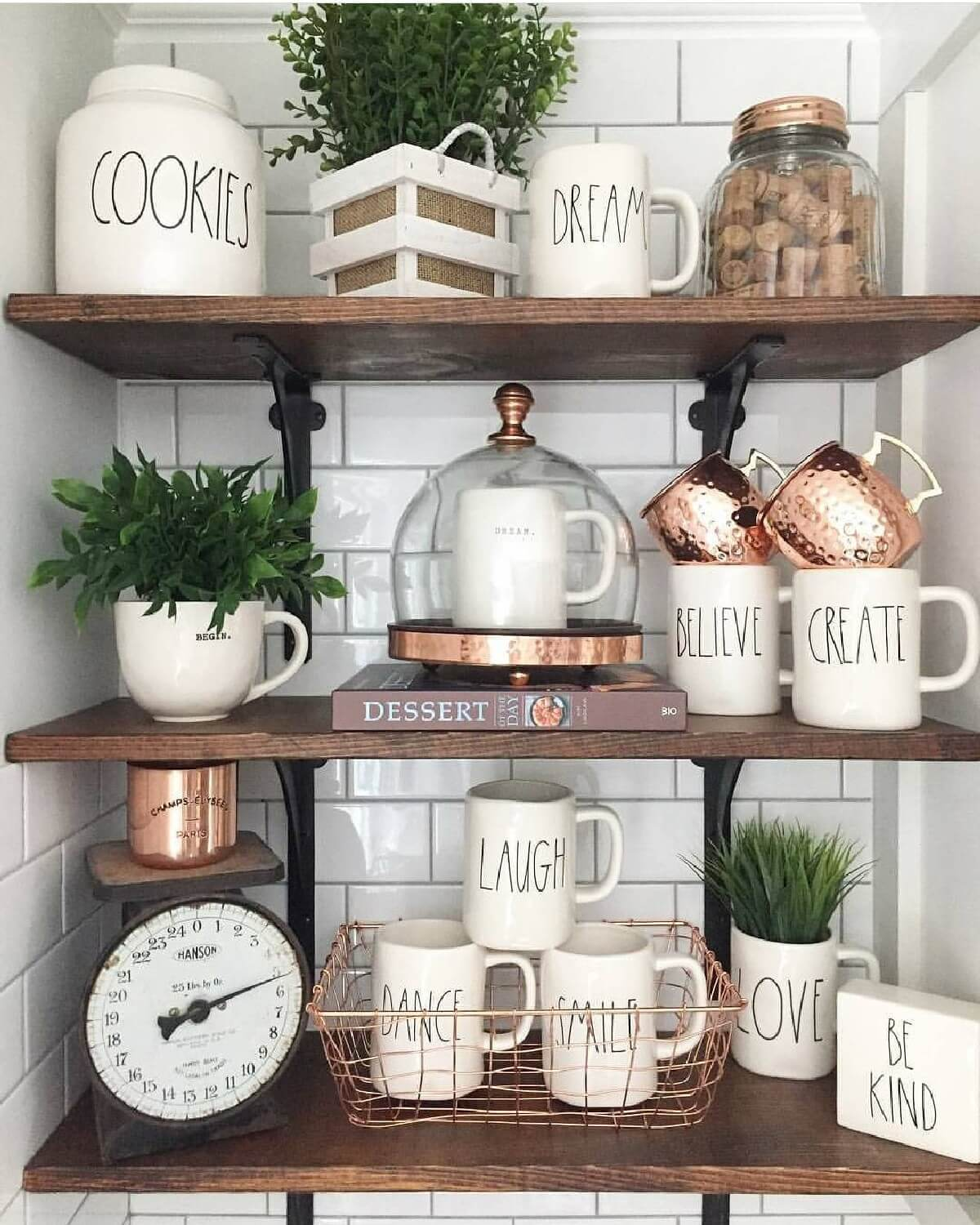 Open Kitchen Shelves Decorating Ideas: 26 Best Farmhouse Shelf Decor Ideas And Designs For 2019