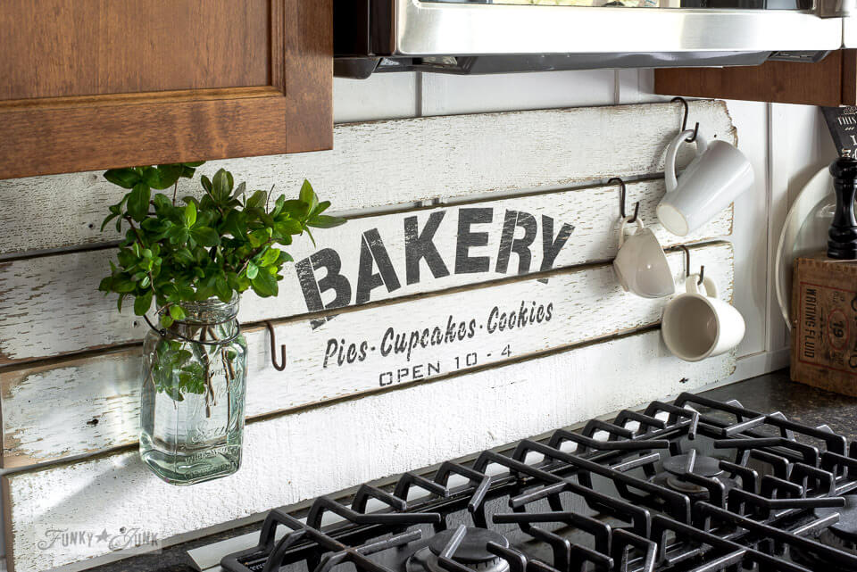 White Distressed Wood Sign Defines a Place