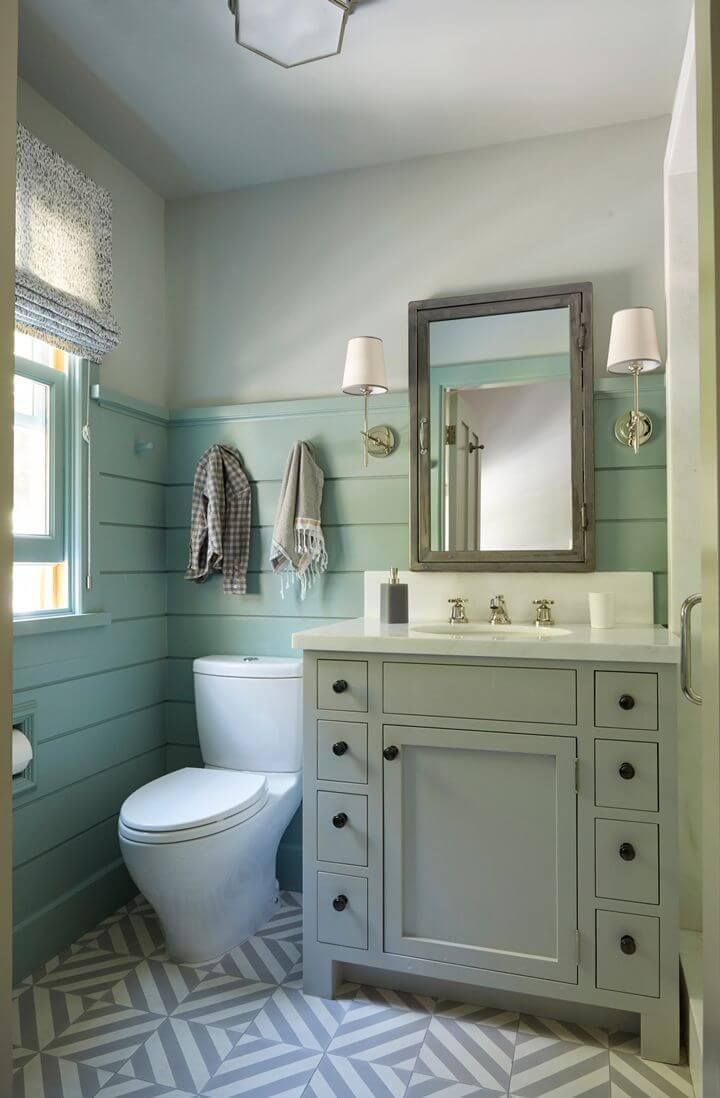 Sea Blue Bathroom with Practical Vanity