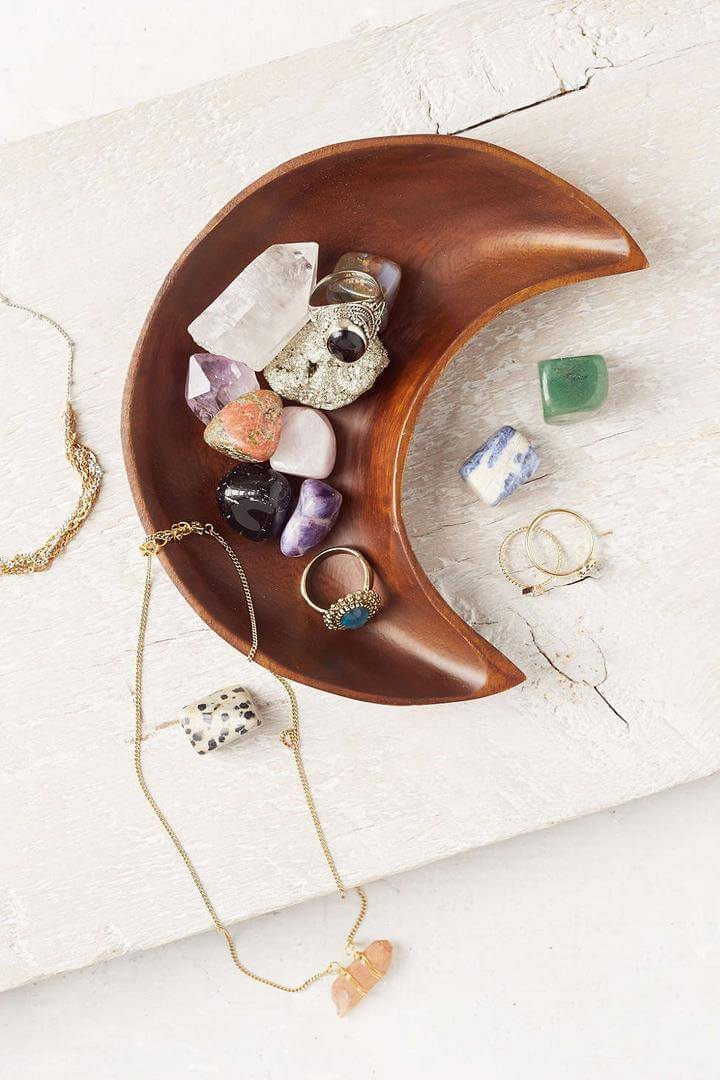 Colored Stones with Jewelry in Moon Bowl