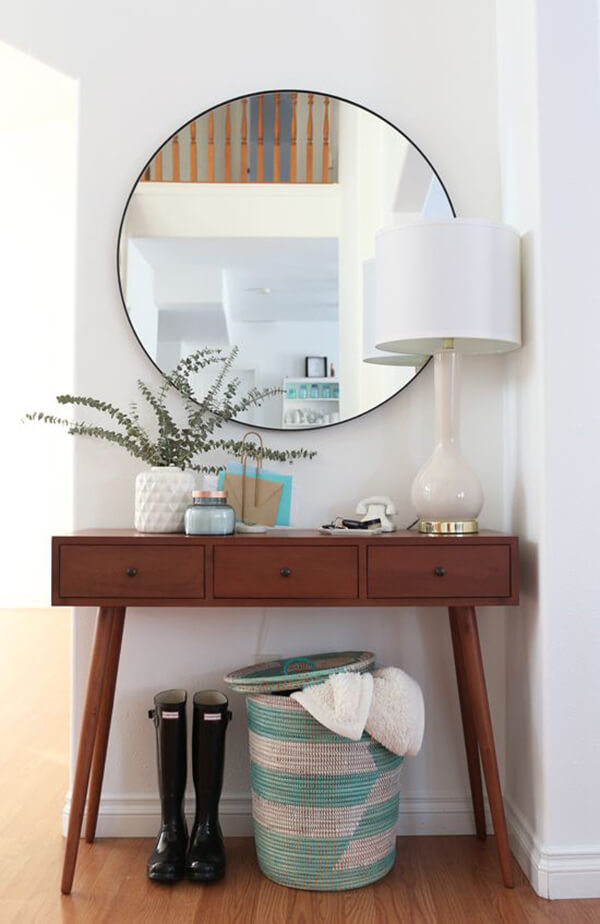 Circle Mirror Above Modish Table