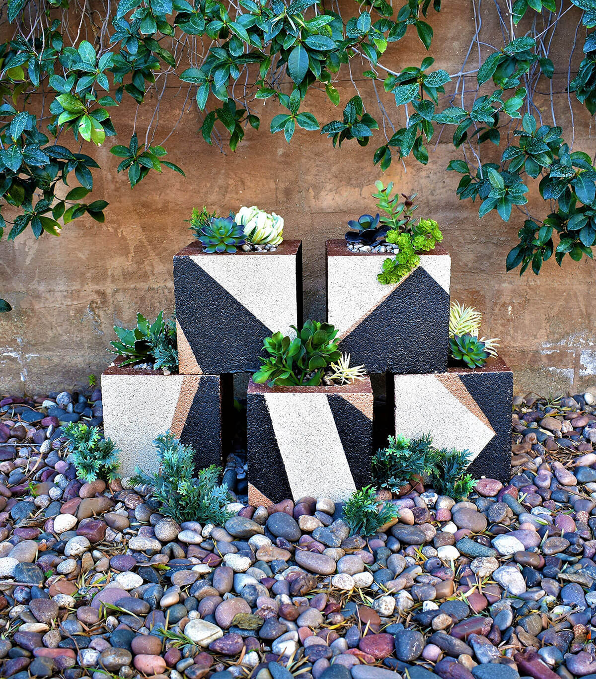 Square Planters in Geometric Design