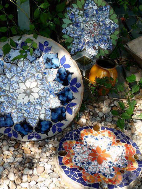 Gorgeous Mosaic Garden Stones in Floral Patterns