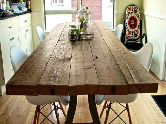 Sturdy Table Made with Knotted Wood Planks