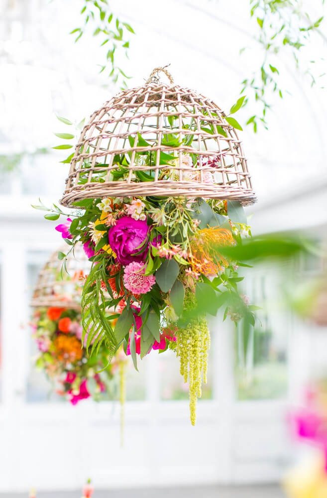 Repurposed Basket And Flower Ceiling Mounts