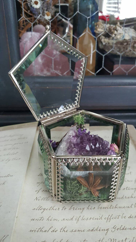 Geode Treasure Inside Open Terrarium
