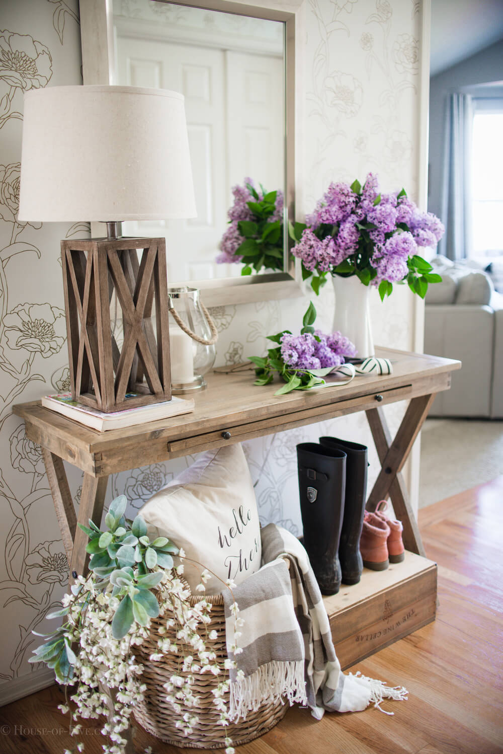 Country Cross Table Holds Lamp and Hydrangeas