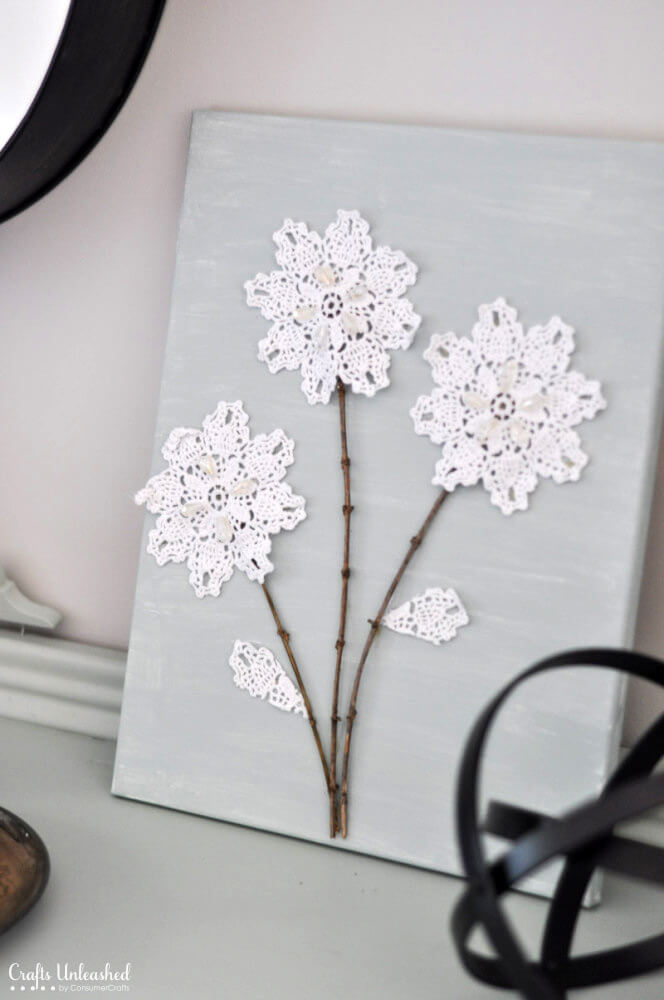 DIY Lace Doily Flowers Art