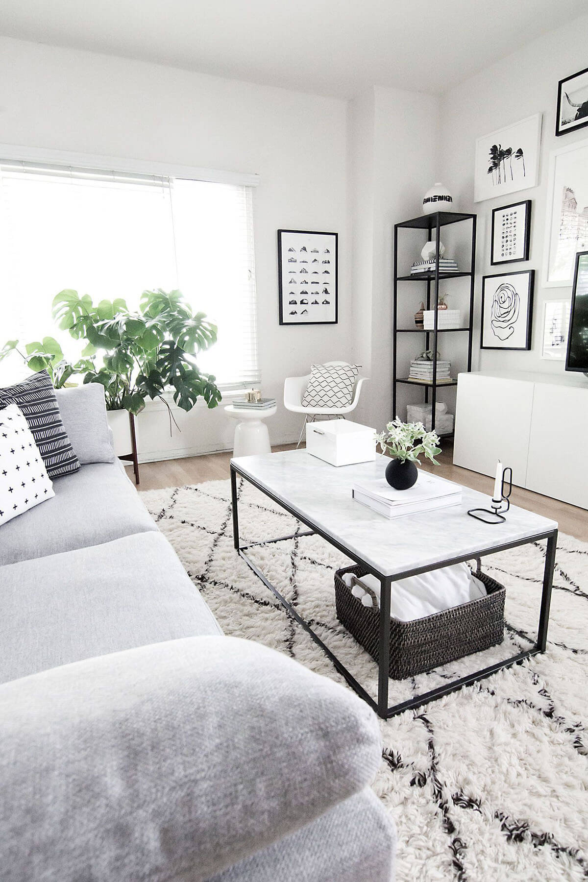 Comfortable White, Gray, and Black Room
