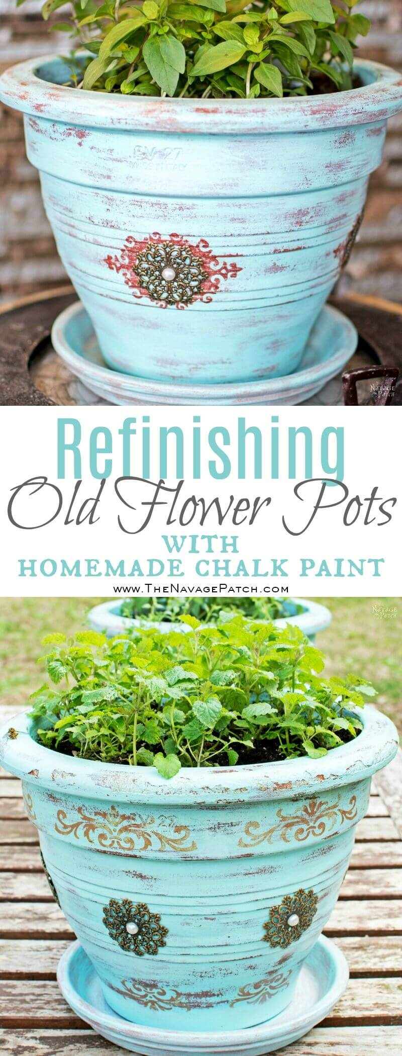 Chalk Paint Creates Antique Charm in Pots
