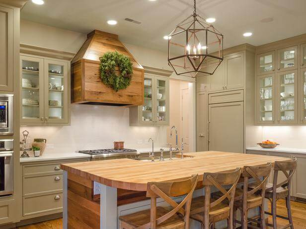 Sage Green Cabinetry with Honey Brown Wood