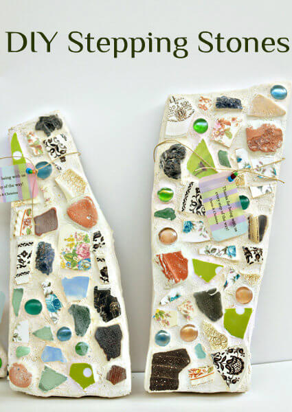 Cute Stepping Stones with Mixed Glass