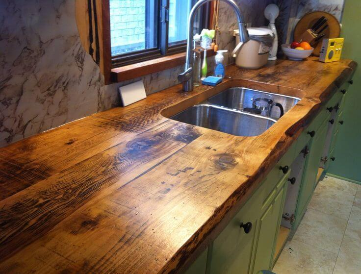 Knotted Wood Sink Counter Top