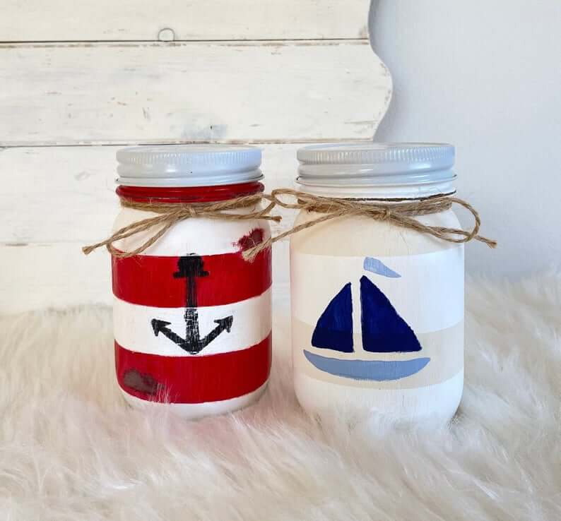 Nautical Anchor and Ship Mason Jar Set