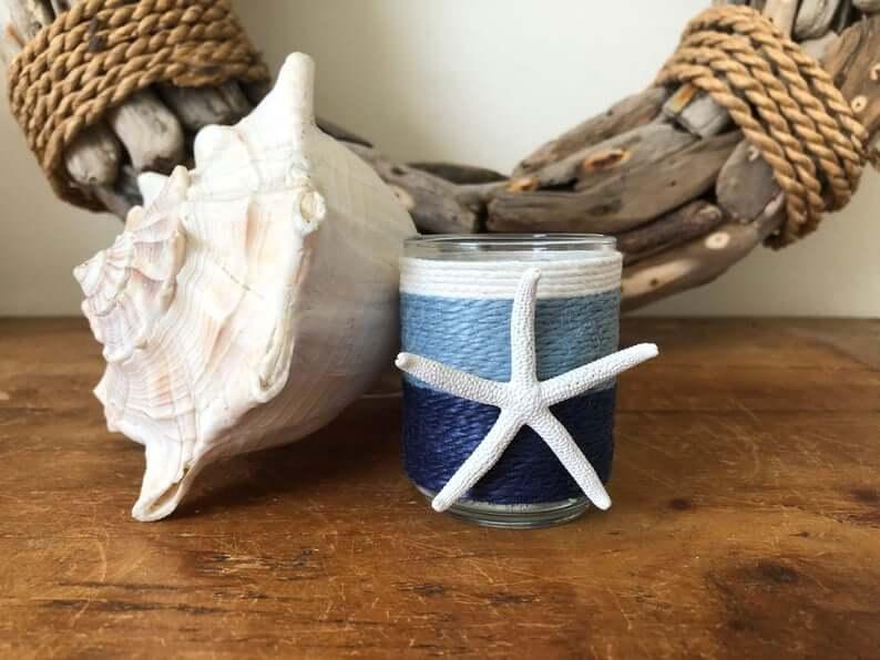 Decorative Hues of Blue Starfish Candle Jar